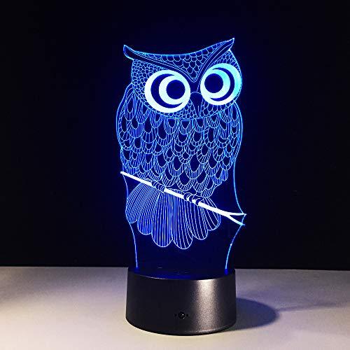 BFMBCHDJ Eule 3D Nachtsicht Stereo Lampe 7 Farbwechsel Für Kinder Geschenk Spielzeug ision Stereo Lampe Kreative Kleine Nachtlicht