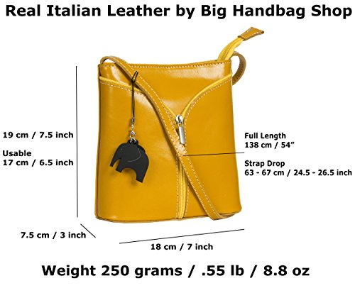 Big Handbag Shop Borsetta piccola a tracolla, vera pelle italiana Tan (Cognac) - Cream Trim