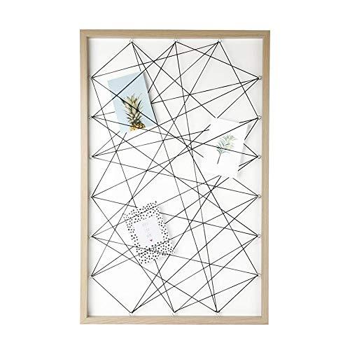 Dresz Fototafel mit Gummibändern, Wanddekoration Organizer, Foto Panel, Inklusiv 3 Trendy Karten, 50 x 78 cm, Braun