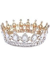 """Santfe 2""""Altura Plata/Rojo brillantes y chapado en oro Full Circle Tiara Corona Novia Boda Joyería Accesorios para el pelo"""