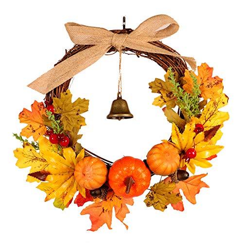 Colorful Deko Kranz mit Herbstlaub Kürbis und Beeren Herbstkranz Tischkranz Türkranz Herbstdeko Tischdeko, perfekte...