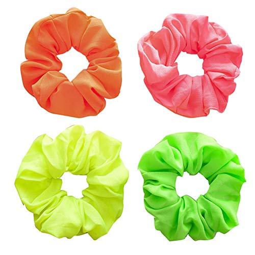 RQWY Headwear Fluoreszierende Farbe Haargummis Elastische Haarbänder Frauen Mädchen Elegante Helle Farbe Haarschmuck Haargummis Pferdeschwanz Halter Zufällig 3 Stück (Stück Drei Georgette)