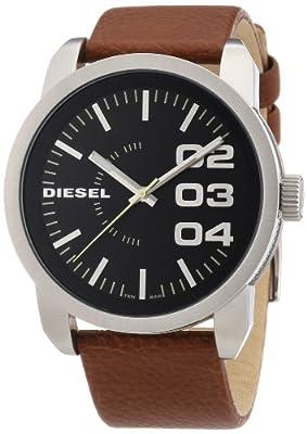 Diesel Franchise-46 DZ1513 - Reloj de cuarzo para hombre, correa de cuero color marrón