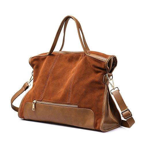 Sacchetto di spalla di affari delle borse della borsa del cuoio genuino del Nubuck Marrone