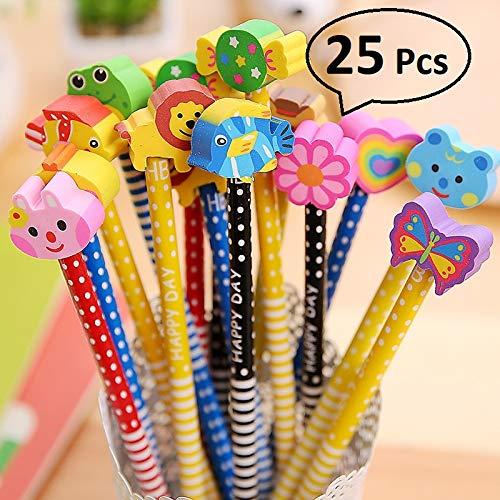 RHardware Lápices Infantiles con Borrador de Dibujos Multicolores 25 pcs, para Regalos Fiestas Cumpleaños