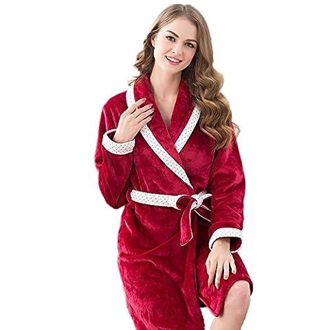 DMMSS Flanell paar Schlafanzug M?nner und Frauen Bademantel Koralle samt solide Farbe Verdickung lange - Kurzarm Pyjama Anzug , 1 , (Weiche Womens Chemise)