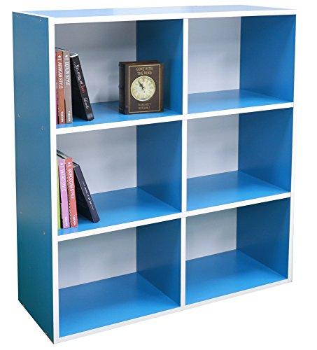 Bücherregal aus Holz mit 3 Etagen, 6 Fächern, perfekter Stauraum blau (6-tier-bücherregal)
