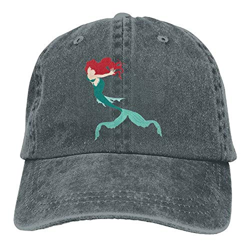 Vidmkeo Red Hair Mermaid Denim Hat Adjustable Curved Baseball Hat Multicolor2