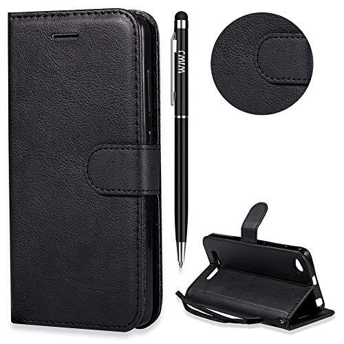 Xiaomi Redmi 4A Hülle,Xiaomi Redmi 4A Handyhülle Leder,WIWJ Wallet Case[Einfarbige Ledertasche mit Lanyard] Flip Schutzhüllen für Xiaomi Redmi 4A-Schwarz