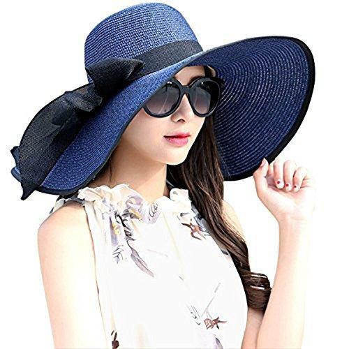 DRESHOW Stroh Sommerhut mit Sonnen Shade Bogen UPF 50+ Schlaff Aufrollen Strand Sonnenblende Böhmen Sonnenhut Hut für Damen Blau Sommer Hut