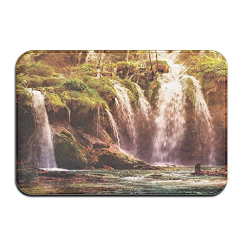 ITSHHMB Water Absorbent Bath Mat Non-Slip Rubber Back Microfiber, Waterfall Forest Tree Moss Lake Stones Rocks Wonder of The World Image,for Living Room Rugs Bedroom - Wonder Wash Mini