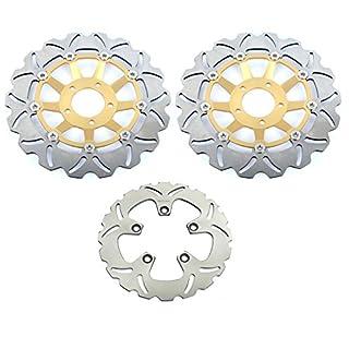 Tarazon 3 pcs vorne hinten Bremsscheiben passend GSX-R 600 W 92 93 GSX-R 750 W 91-95 GSX-R 1100 W 93-00 Gold Set