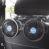 JINGBO Auto-Fans, 12V Elektrischer Selbstkühlungs-Ventilator, Kopfstütze 360 Grad drehbarer 2 Geschwindigkeits-Doppelkopf-Hinterer Sitz-Luft-Ventilator für Limousine SUV RV-Boot, Blue