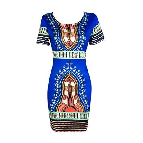 Vovotrade Frauen Traditionelle afrikanische Druck Dashiki Bodycon Sexy kurzärmelige Kleid (EU Size:38, Blau)