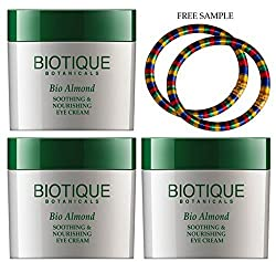 Biotique Almond Under Eye Cream For Dark Circles & Puffiness-15g - (Pack of 3) - Free Expedited Shipping via DHL Express - Delivery in 3-7 days - with Free Product Sample