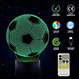 3d led nachtlicht fussball 3d optical illusion lampe Nachttischlampe für Kinder Jungen 7 Farben ändern mit Touch + Fernbedienung(Fußball)