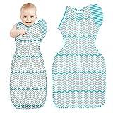 Tomwell Baby Sacco A Pelo Bambino Striscia Cotone Coperta Neonati Baby Swaddle Passeggino Sacco A Pelo con Maniche Blu 75CM (6-9Mesi)