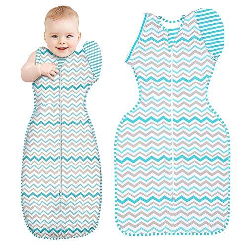 Tomwell Baby Sacco A Pelo Bambino Striscia Cotone Coperta Neonati Baby Swaddle Passeggino Sacco A Pelo Con Maniche Blu 67CM (3-6Mesi)
