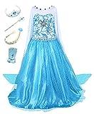 Beunique Robe Filles Reine des Neiges Costume et Accessoires Princesse Elsa Cosplay...