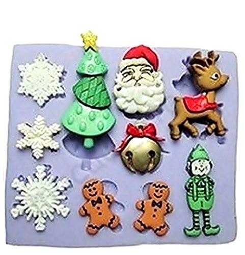 Evrylon ➣ stampo in silicone per uso alimentare con il calco di accessori natailizi - fiocchi di neve - albero di natale - viso di babbo - natale - renna - elfo - pupazzo di neve