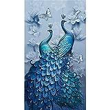 Domybest 5D DIY Full Drill Square Diamond Painting Peacock Cross Stitch Mosaic Kit