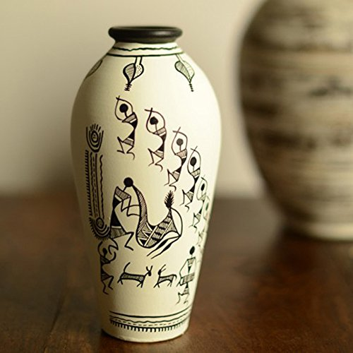 ExclusiveLane 6 Inch Terracotta Handpainted Warli Round Shaped Decorative Vase In White -Flower Pots Home Decorative Pieces Gift Item