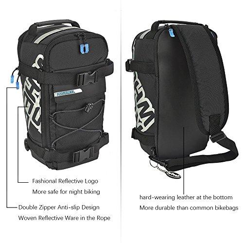 Roswheel 2 in 1 Gepäckträgertasche Radtasche Rucksack Wasserdicht 5 L mit Reflektierendem Band Outdoor (Orange) Typ C Schwarz