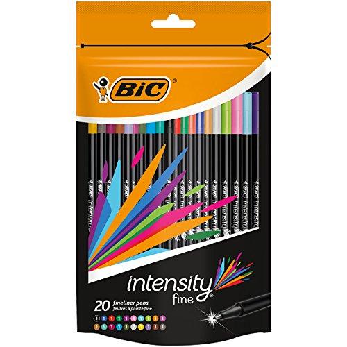 BIC Intensity Fine rotuladores punta fina (0,8 mm) - colores Surtidos, Blíster de 20 unidades