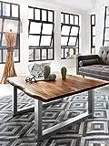 SAM Couchtisch 120x80 cm IDA, Echte Baumkante, massiver Sofatisch aus Akazienholz, Metallbeine Silber, Baumkantentisch