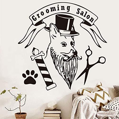 jiushizq Mode Pet Grooming Salon Wandaufkleber Hund Mit Hut Pfote Schere Lustige Abnehmbare Aufkleber Für Pet Shop Home Art Decor Rot 59 cm X 58 cm