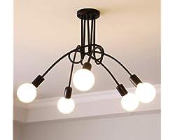 Ganeed Modern Sputnik Chandelier Lighting 5 Lights Brushed Brass Chandelier Mid Century Pendant Lighting Ceiling Light Fixtur