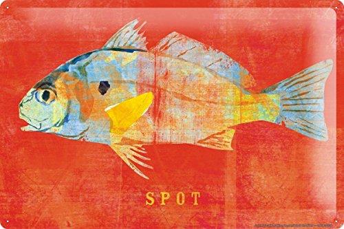Blechschild Restaurant Küchen Deko Fisch Spot Wand Metall Schild 20X30 cm