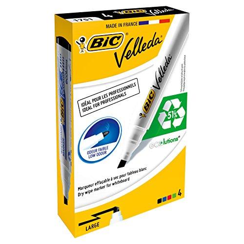 Bic Velleda 1751/1754 Whiteboard Marker Chisel Tip Line Width 3.7-5.5mm Assorted Ref 11990017 [Pack 4]