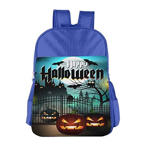 Cool Black Happy Halloween Children School Backpack Carry Bag for Kids Boy Girls
