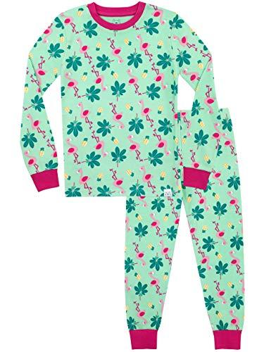 Harry Bear Mädchen Schlafanzug Tropisches Paradies Slim Fit Grün 146 (Mädchen Schlafanzug Größe 10)