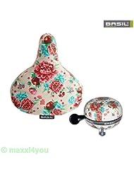 01500501kW Basil bicicleta-Funda para sillín + Ding Dong Campana-Bloom Gardenia White