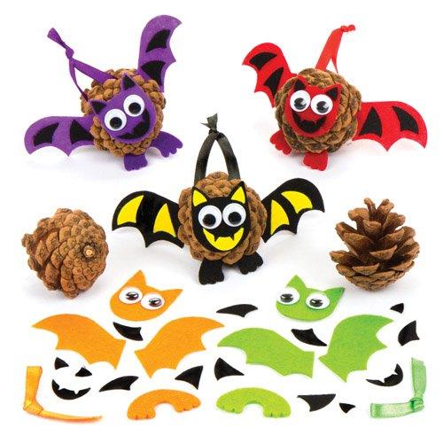 Baker Ross Tannenzapfen-Bastelsets Fledermaus als lustiges Spielzeug für Kinder Zum Günstigen Preis - Perfekt als Kleine Party-Überraschung für Kinder zu Halloween (6 Stück) (Halloween-party Kinder Handwerk)