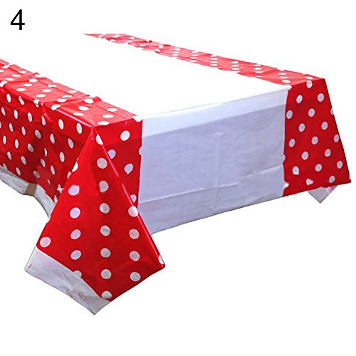 Rycnet Einweg-Tischdecke, rechteckig, gepunktet, für Hochzeit, Bankett, Tischdekoration, Neujahrsgeschenk rot