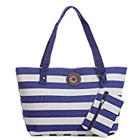 Stripe Canvas Tote Bag Vintage Button Holiday Beach Shoulder Handbag (navy white thick stripe)