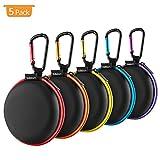Tragetasche für Ohrhörer,SUNGUY [5-Pack] Reisetasche für kleine Ohrhörer im Taschenformat mit farbigem Reißverschluss für Smartphone-Headset,Bluetooth-Headset,USB-Kabel,SD-Karten-Taschen und mehr