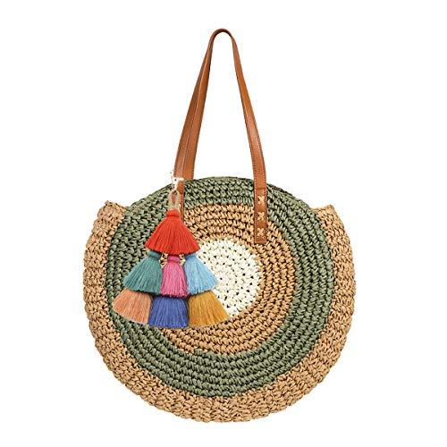 Mini Cute Bolso tejido de paja para mujer Bolso de playa de verano Bolso bandolera de cuero Bolso de paja grande con pompón