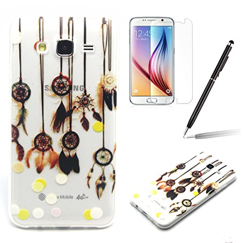 Samsung J5 Bumper - Felfy Ultra mince Slim Unique White Feather and Bird Design Style Gel Souple Soft Flexible TPU Silicone Coque Etui Protective Housse Case Cas Cover Couverture pour Samsung Galaxy J Clair TPU #11