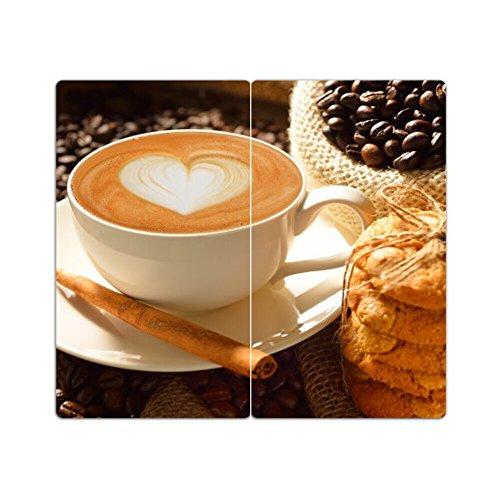 DEKOGLAS | Herdabdeckplatten aus Glas, inklusive Noppen | 2er-Set - 2 Stück 30x52 cm | Herdabdeckung, Schneidebrett, Spritzschutz | Kaffee Herz Herz Kaffee