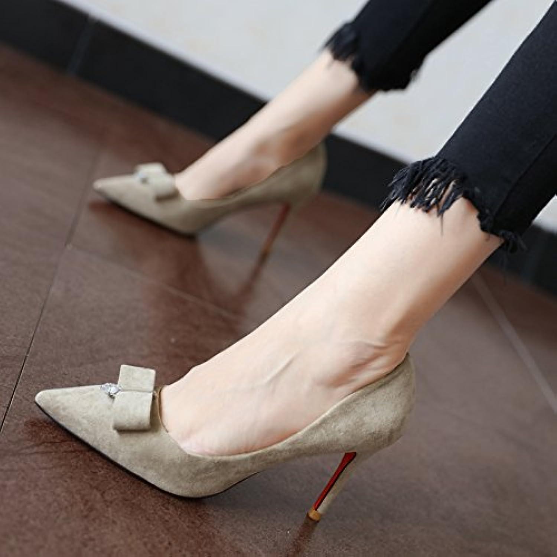 FLYRCX Suede nudo mariposa cabeza vogue tacones primavera y otoño lady's personalidad y zapatos de trabajo,39,un  -