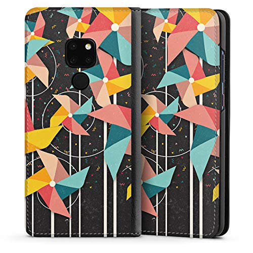 DeinDesign Leder Flip Case kompatibel mit Huawei Mate 20 Tasche Hülle Windrad Pattern Muster - Windrad-tasche