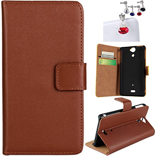 CaseMa-EUPU Leder Brieftasche Flip mit Standfunktion Flip Hülle Case Schutzhülle für Sony Xperia V Lt25i (Braun) mit Ein zufällige Farbe Staub-Stecke