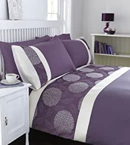 mei bettw sche set floral bestickt modern violett king size k che haushalt. Black Bedroom Furniture Sets. Home Design Ideas