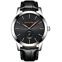 Samuel Joseph Bespoke Men's 43mm Wrist Watch - Master Crafted with Galaxy Gold - Black Dial, Steel Case, and Black Leather Band