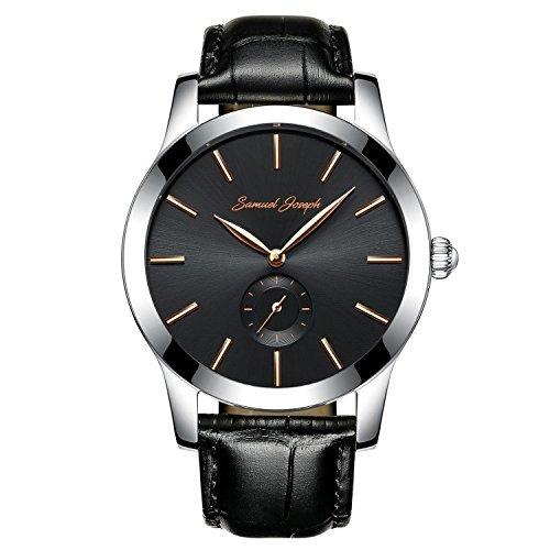 Samuel Joseph Bespoke orologio da uomo-43mm cinturino Master realizzato con un Galaxy quadrante nero, cassa in acciaio, e fascia in pelle nera