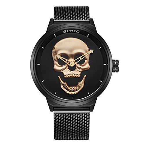 erren Armbanduhr Cool Stahl schwarz männlich Uhr Big Zifferblatt Herren Vintage Armbanduhr (Coole Männer Outfits Für Halloween)